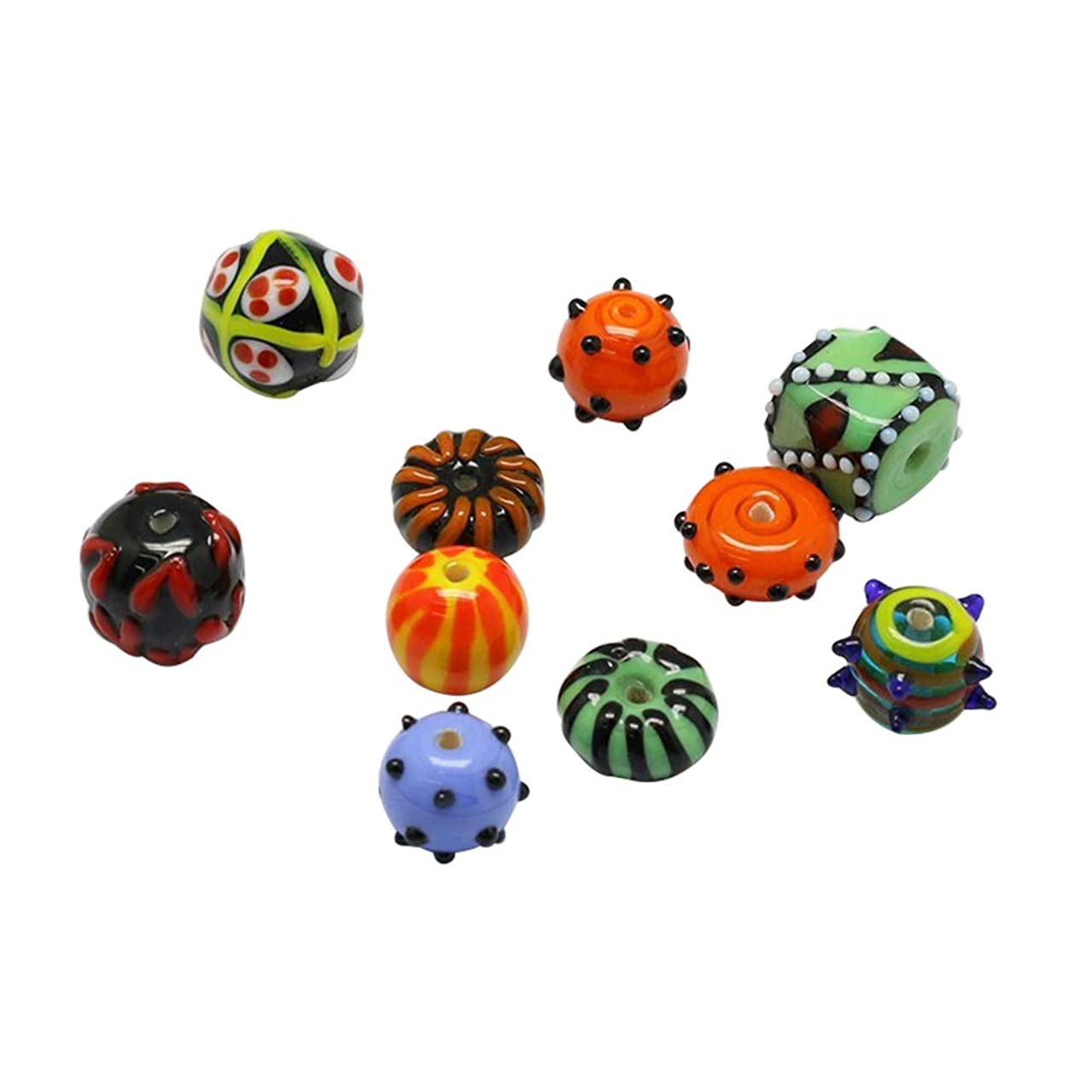 PH PandaHall 10 Pcs Bumpy Lampwork Glass Beads Loose Spacer Bead for Jewelry Making, Assorted Styles