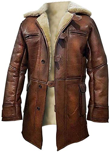 NM-Fashions Men's Hardy Bane Knight Rises Faux Fur Shearling Pea Coat Distressed Brown Trench Leather Jacket Coat