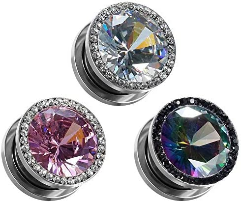 COOEAR Gauges for Ears Plugs and Tunnels Piercing Earrings Crystal with Zircon Style Expander product image