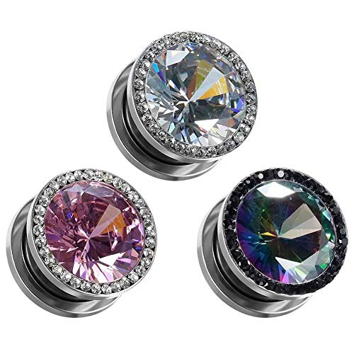 "COOEAR Gauges for Ears Plugs and Tunnels Piercing Earrings Crystal with Zircon Style Expander Stretchers Size 2g(6mm) to 5/8""(16mm)"