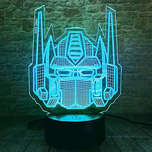 Luz nocturna de ilusión óptica 3D Autobots creativos 16 colores que cambian con mando a distancia regalos de cumpleaños para niños niñas adultos decoración del hogar