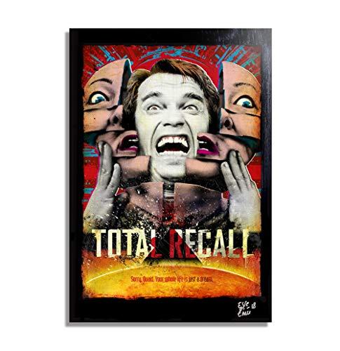 Arnold Schwarzenegger de la pelicula Total Recall (Desafio Total) - Pintura Enmarcado Original, Imagen Pop-Art, Impresion Poster, Impresion en Lienzo, Cuadro, Cartel de la Pelicula, Ciencia Ficcion