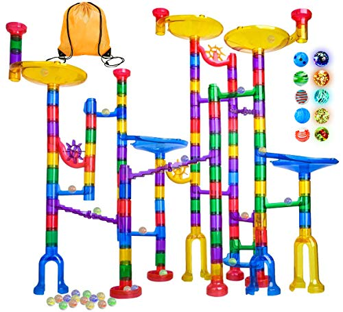Meland Marble Run - 132Pcs Marble Maze Game Building Toy for Kid, Marble Track Race Set&STEM Learning Toy Gift for Boy Girl Age 4 5 6 7 8 9+ (102 Translucent Marbulous Pcs & 20 Glass Marbles)