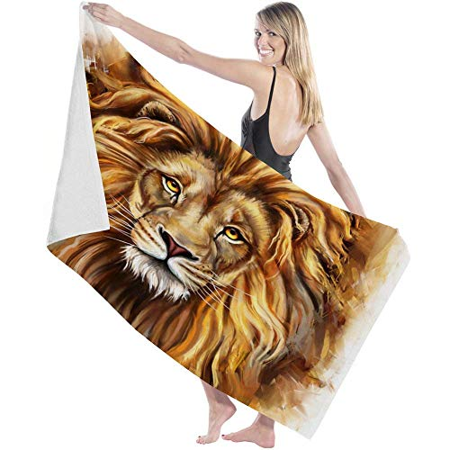 shenguang toalla de baño Luxury Bath Towel Ultra Absorbent Bath Sheet,Art Africa Animal King Lion Quicky Dry Microfiber Shower Towels for Bathroom,Multipurpose Use for Hotel,Sports,Travel,Fitness,Yoga