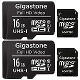Gigastone Tarjeta de memòria Micro SDXC de 16GB con Adaptador SD, (Classe 10, U1,C10, 2 paquets). Velocidad de Lectura/Escritura hasta 90/20 MB/s.Compatible con Mòbil, cámara de Coche etc.