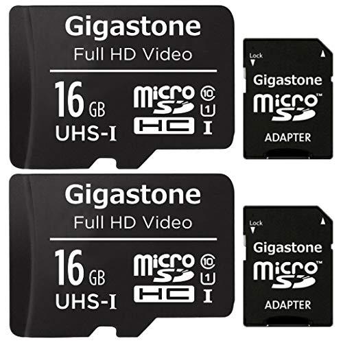 Gigastone 16GB Tarjeta de Memoria Micro SD, Paquete de 2, Video Full HD, Cámara de Vigilancia y Seguridad, Cámara de Acción, Drone, 85 MB/s Micro SDHC UHS-I U1 C10 Clase 10