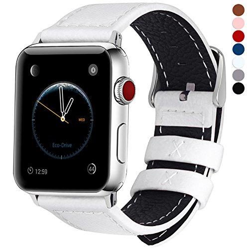 Fullmosa kompatibel mit Apple Watch Armband 42mm 44mm,Leder Uhrenarmband Serie5 4 Ersatzarmband für iWatch Band iwatch Series 5/4/3/2/1,Weiß 42mm