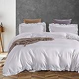 AShanlan Bettwäsche Rüschen 135x200 Weiß Uni Einfarbig Romantisch Rüschenbettwäsche Set 2 Teilig 100% Weich Mikrofaser Deckenbezug mit Kissenbezug 80x80 cm Reißverschluss