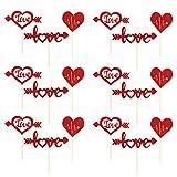 PRETYZOOM 24Pcs Día de San Valentín Toppers de La Magdalena Love Cake Topper en Forma de Corazón Selecciones de La Torta para El Día de San Valentín Boda Decoración de La Torta Suministros