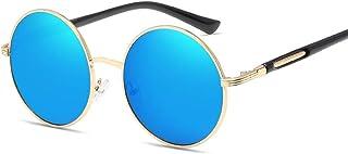 Women Metal Fashion Sunglasses Round Sunglasses Trend Retro Color Film Sunglasses (Color : E Blue, Size : Free)