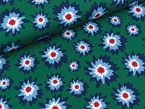Swafing katoenen trui Amsterdam bloemen kleurrijk op donkergroen door Lila-Lotta FS19