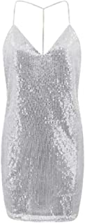 JietaodianziAU Women's V-Neck Sexy Sleeveless Backless Sequin Party Dress, Fashion Dress for Women
