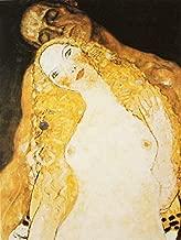 Buyartforless Adamo Ed Eva by Gustav Klimt 40x30 Museum Art Painting Reproduction Canvas, Brown