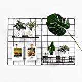 Wall Grid Panel, Grid Wall Photo Display Hanging, Foldable Office Wall Decor Iron Rack, Photograph Wall Mesh Organizer, Ins Art Display Picture Wall Hangers (Pack-1, Black, 25.6 x 17.7 Inches)