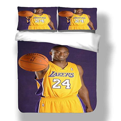 Juego de Funda nórdica Kobe Los Angeles Basketball Player 24 Ropa de Cama Black Mamba Bryant Lakers Super Star Three Pointer Hook Shot Edredón con 2 Fundas de Almohada Purple Gold Dynasty