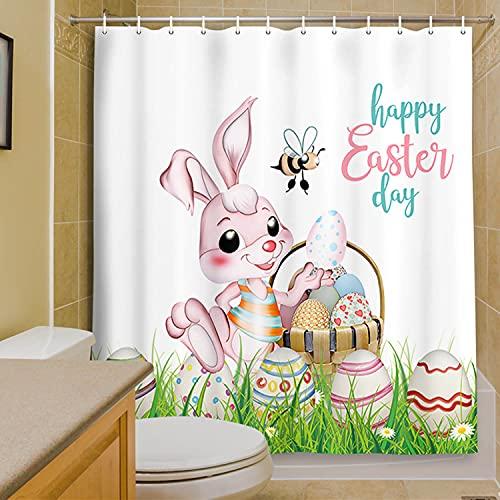 MERCHR Easter Shower Curtain, Cute Rabbit Colorful Easter Eggs Spring Festival Bathroom Curtains, Cloth Fabric Bath Curtains with Hooks Set, 71 X 71 Inches