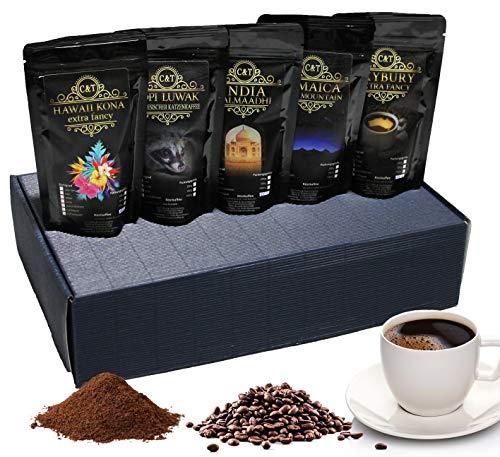 Edles Und Hochwertiges Geschenkset - Fünf Exklusive Kaffeeraritäten Inkl. Kopi Luwak (Katzenkaffee Von Freilebenden Tieren) - Ganze Bohne - Spitzenkaffee - Premiumkaffee - Schonend Und Frisch Geröstet