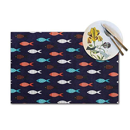 Cartoon Cute Fish Woven Placemats Set of 4 Pcs Heat-Resistant Washable Table Non-Slip Place Mat for Dining Table 12 X 18 Inches