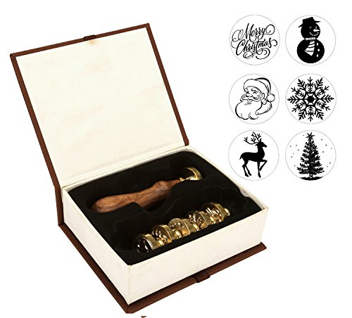 Wax Seal Stamp Set, Yoption 6 Pieces Sealing Wax Stamps Copper Seals + 1 Piece Wooden Hilt Vintage Retro Classical Initial Sealing Wax Stamp Kit (Merry Christmas Suit)