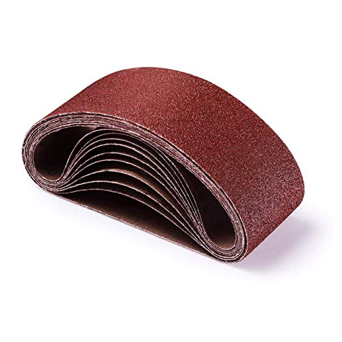 Bandas de Lija 75 x 475 mm, Banda Abrasiva 3 x grano 40/60/80/120/180/240/320 para Lijadora de Banda,para Quitar el Polvo, Quitar la Pintura y Pulir (21 piezas)