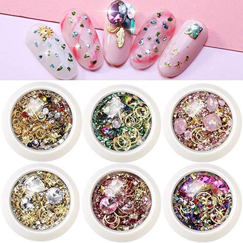 6 Boxen Gemischt Nail Art Strass Diamanten Kristalle Perlen Gems für Nagel Kunst Dekorationen DIY Design