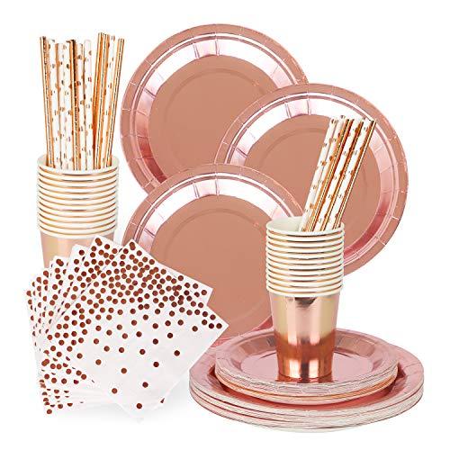 Rorchio 170 piezas de vajilla de oro rosa, platos de papel de oro rosa, servilletas de cóctel, tazas para fiestas de cumpleaños, decoraciones de despedida de soltera (30 invitados)