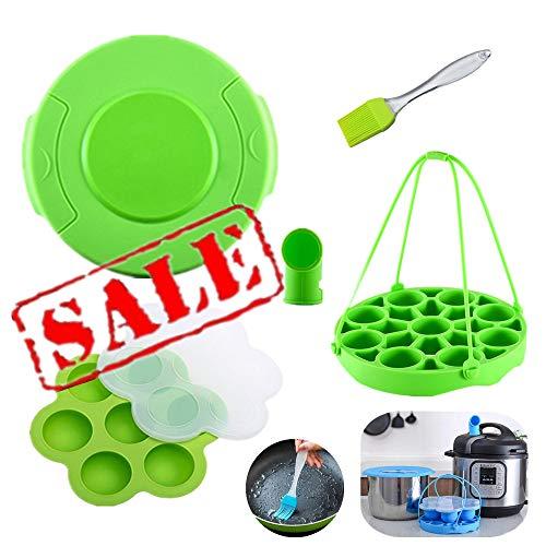 KeepingcooX Accessoireset voor snelkookpannen Compatibel met Instant Pot / Ninja Foodi 6,8 qt - Potdeksel, Stoommandinzet met tilband, Stoomomstelling, Eierkoekvormpjes, Borstel, 2 Ovenwanten