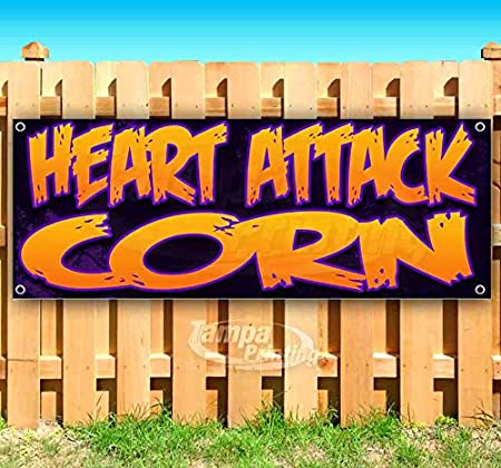 Heart Attack Corn 13 oz Banner Heavy-Duty Vinyl Single-Sided with Metal Grommets