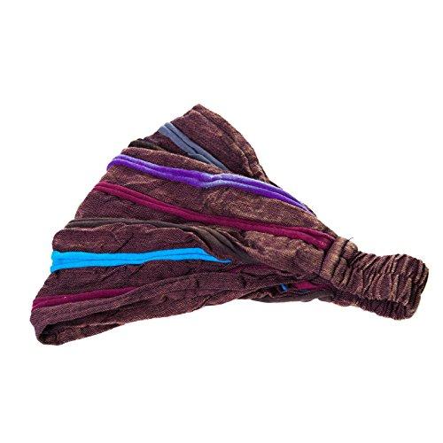KUNST UND MAGIE Stirnband Haarband Goa Stonewashed Hippie Kopftuch Haarband, Farbe:Braun