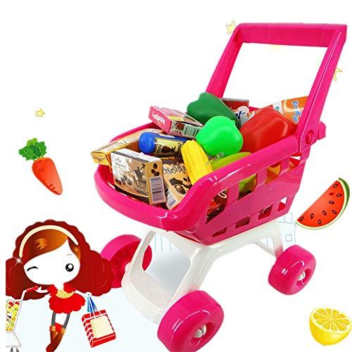 Carrito de Compras de Juguetes Childrens Carrito de la Compra Cesta for la Tienda de Juguetes de Cocina más de 22 Piezas de Juego de rol de Alimentos de Juguetes educativos para Niños y Niñas