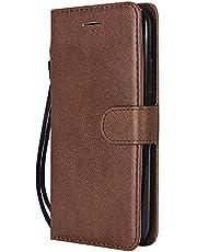 Coque pour [Moto C Plus] Protection Housse en Cuir PU Pochette,[Emplacements Cartes],[Fonction Support],[Languette Magnétique] pour Motorola Moto C Plus - DEKT051206 Marron