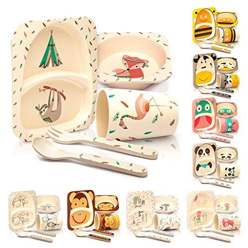 bambuswald© Kindergeschirr inkl. Schüssel, Teller, Gabel, Löffel & Trinkbecher - Geschirrset Frühstücksset| Kinderbesteck mit schönen Motiven für Kinder Baby Kleinkinder - stabil & spülmaschinenfest