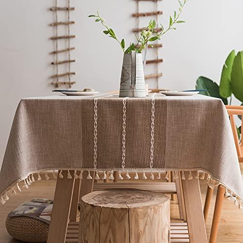 Tovaglia Plenmor in Cotone e Lino Resistente per Tavoli Rettangolari Tovaglie a Reticolo con Solido Ricamo per la Decorazione del Tavolo da Pranzo della Cucina (140 x 180 cm, Cachi)