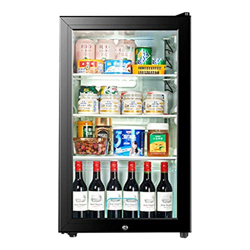 XJBHRB Nevera vinos - Nevera para Bebidas | 100L Cerveza, Vino y Bebidas Nevera | Luz LED + Cerradura y Llave | Energía Baja A + (Negro)