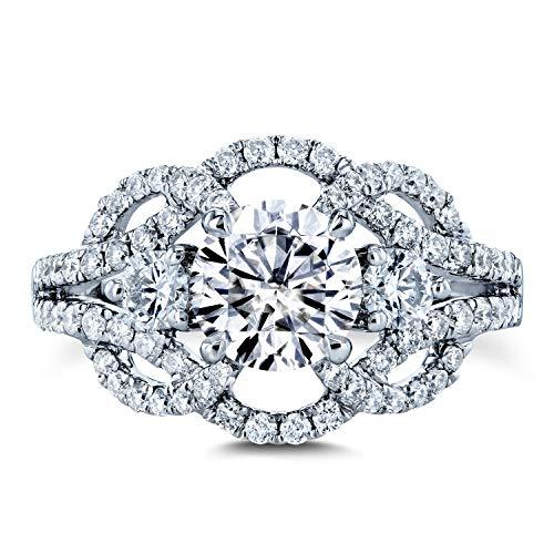 Kobelli Moissanite (DEF) and Diamond Celtic Knot Filigree Ring 1 3/4 CTW 14k White Gold, 7