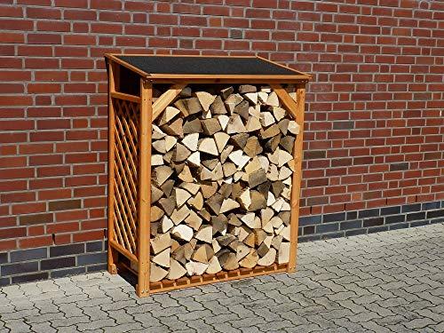 Kaminholzregal Renate, Kiefer, honigbraun, 119,5 x 68 x 148cm, Holzaufbewahrungsregal, Garten, Outdoor, Outdoorholzlagerung, Holzlagerung