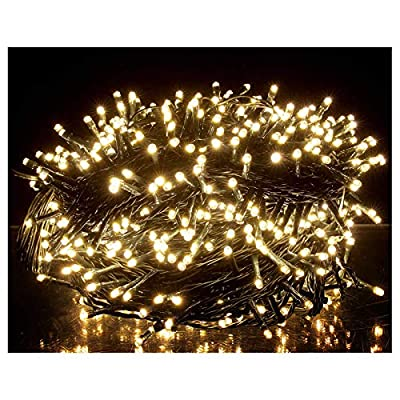 OZS-115Ft 300LED Super Bright String Lights Indoor/Outdoor, Waterproof 8 Modes (UL Certified), Green Wire String Lights for Garden Patio Decor (Warm White Unextendable)