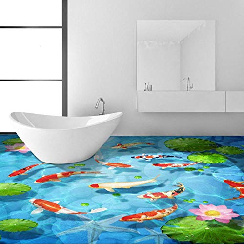 mazhant Mural de suelo autoadhesivo personalizado 3D estéreo guijarro Lotus carpa azulejos de suelo pintura de pared papel pintado adhesivo PVC baño impermeable-200X140cm