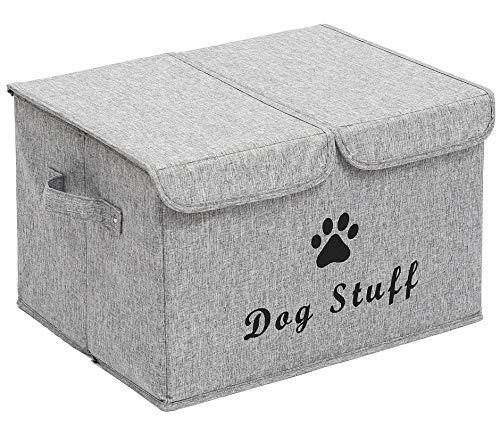Morezi Große Aufbewahrungsbox für Hundespielzeug, Segeltuch, Aufbewahrungskorb mit Deckel, perfekt zusammenklappbar, für die Organisation von Hundespielzeug und Zubehör, schneegrau