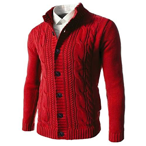 BGUK Chaqueta de punto para hombre con cuello en V y tira de botones, de un solo color, jersey de punto acanalado, informal, con patrón trenzado, para otoño e invierno, rojo, XL