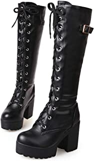 Hoxekle Women Winter Knee High Boot Fashion Long Boots Lace Up Round Toe Thick High Heel Platform Walking Shoes
