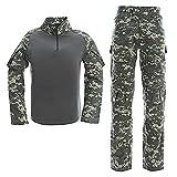 LANBAOSI Conjunto de Camisa y Pantalones de Combate Táctico Para Hombres, Uniforme Militar de Caza de Manga Larga Multicam Woodland BDU con Cremallera de 1/4