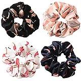 Coleteros, gomas elásticas suaves para el pelo para mujeres y niñas, 4 unidades, cada una con un estilo colorido, estampado de flamenco