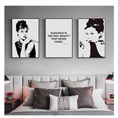 Suuyar Audrey Hepburn Wandkunst Leinwand Malerei Zitate Minimalistische Poster und Drucke Wandbild für Wohnzimmer Wohnkultur-60x80cmx3pcs Kein Rahmen