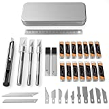 Nicpro 115 PCS Exacto Knife Set 3 Hobby Art Knife With 110 Various Size Blades,Ruler And 9mm Utility Knife For Art Carving Craft Office