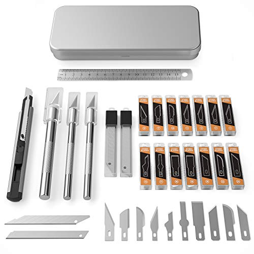 Nicpro 115 PCS Hobby Knife Set with Metal Case, Precision Utility Scalpel Razor Kit with Various Blades,Ruler for Hobby Scrapbooking Leather, Wood, Art Carving, Craft, Sharp Pen Knives