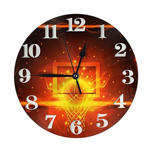 Flaming Basketball - Reloj de pared con diseño de balón de baloncesto (25 cm de diámetro)