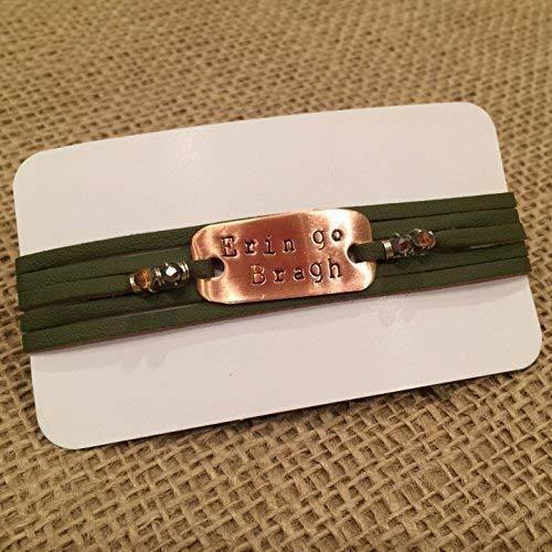 IF - Hand Stamped Erin go Bragh on Green Leather and Copper Metal, Irish Bracelet, Irish Jewelry, Celtic Bracelet in Copper, Irish Bracelet - Made in Wisconsin