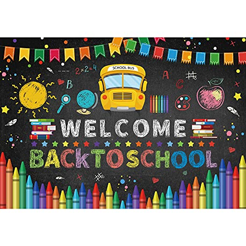 Negeek 7x5FT Durable Fabric Back to School Photography Backdrop Blackboard for Welcome Kids Students Party Banner Pencil Chalkboard Learning Photo Backgrond Photocall Prop Photo Booth