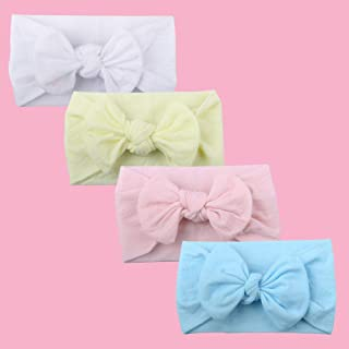 Baby Girls Elastic Nylon Headband-Subesty Classic Knot Hair Accessories Hair Band For Newborn Infant Toddler Set Of 4
